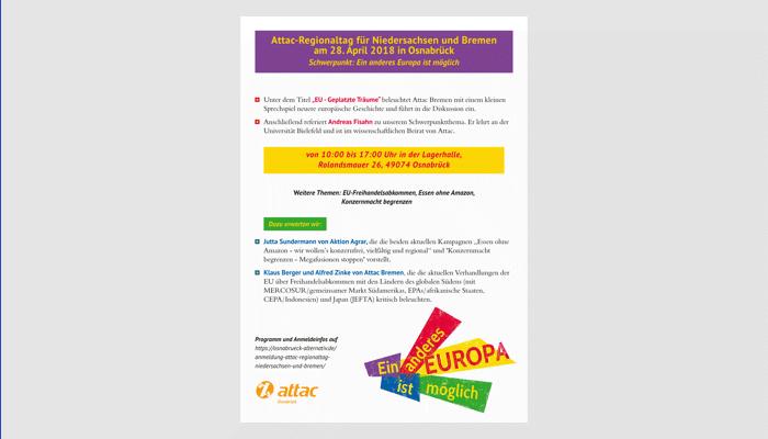 Plakat Attac Regionaltag Niedersachsen Bremen 2018