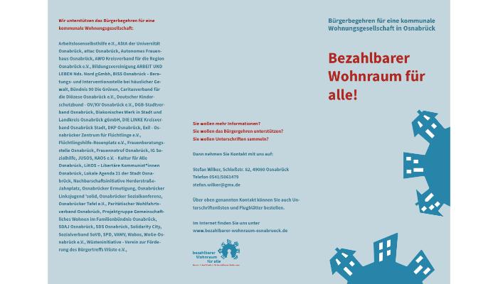 Flyer Osnabrücker Bündnis für bezahlbaren Wohnraum